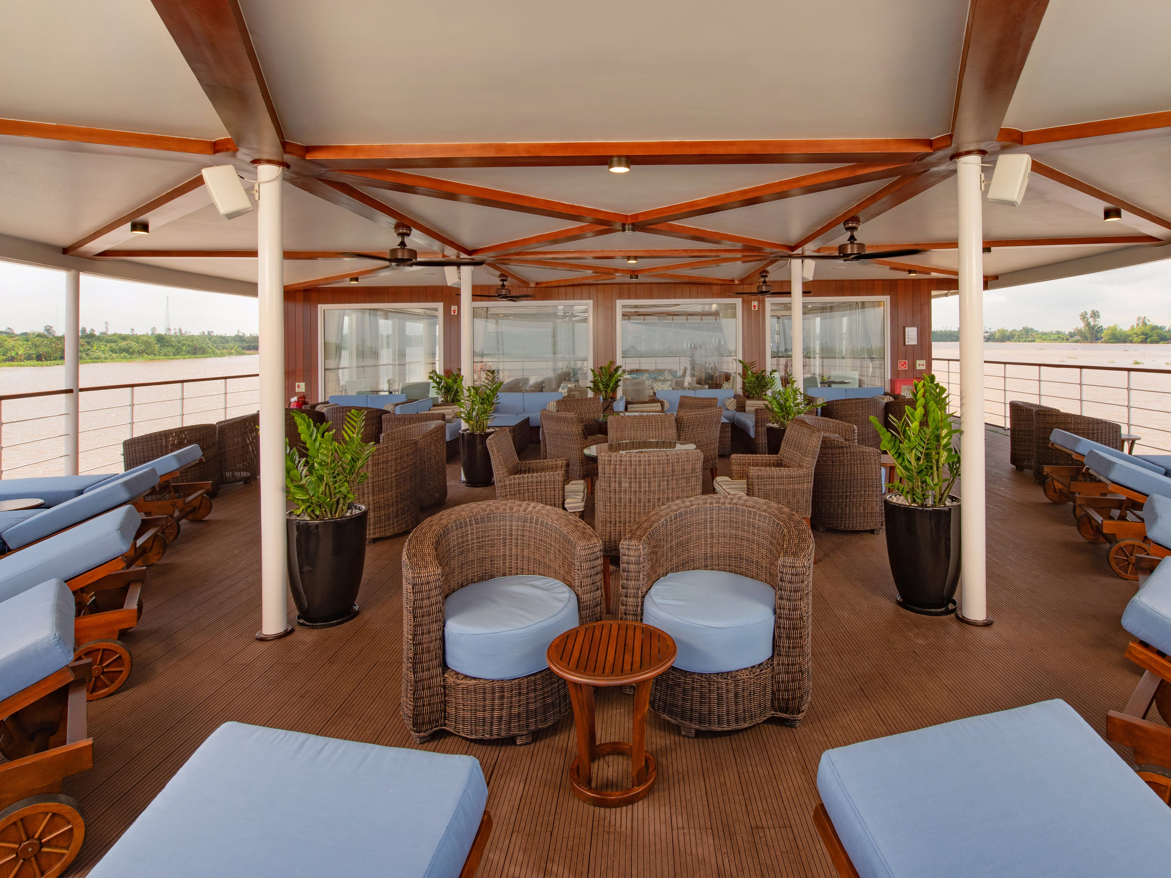 Designed for just 36 passengers, Avalon Saigon is one of the most intimate cruise vessels on the Mekong River. It travels the Mekong through parts of Vietnam and Cambodia.