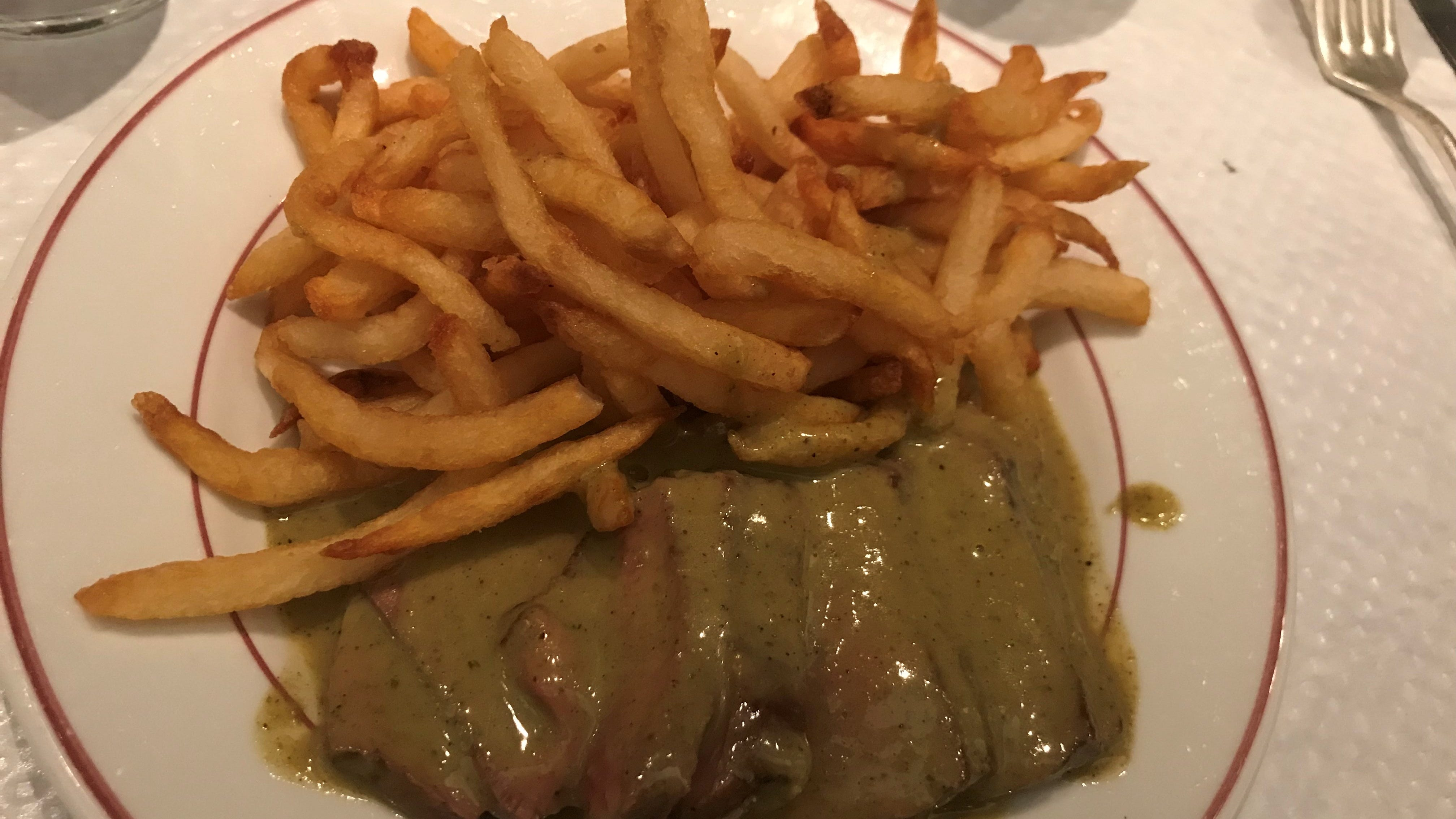 The main event – and only option - is steak frites, with seconds offered once you finish this plate.