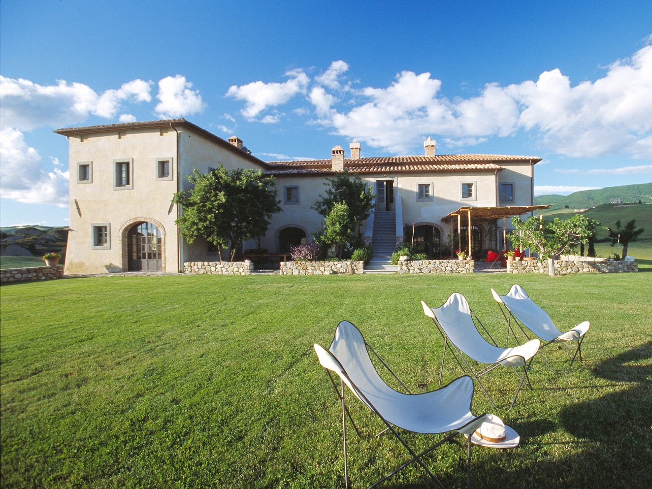 This villa in Val d'Orcia has 8 bedrooms and 8.5 baths.