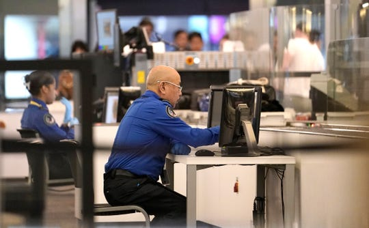 Transportation Security Administration agents at San Francisco International Airport on Jan. 8, 2019.