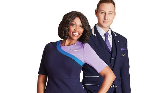 One of United's new uniform designs for   flight attendants.