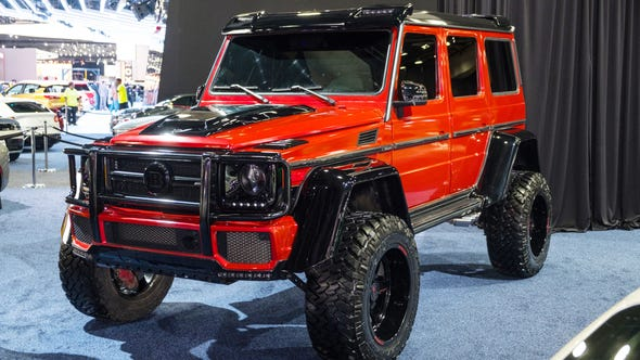A Mercedes Brabus 4x4 is seen on display in a custom vehicle area during the 2019 North American International Auto Show held at Cobo Center in downtown Detroit on Tuesday, Jan. 15, 2019.  (Via OlyDrop)