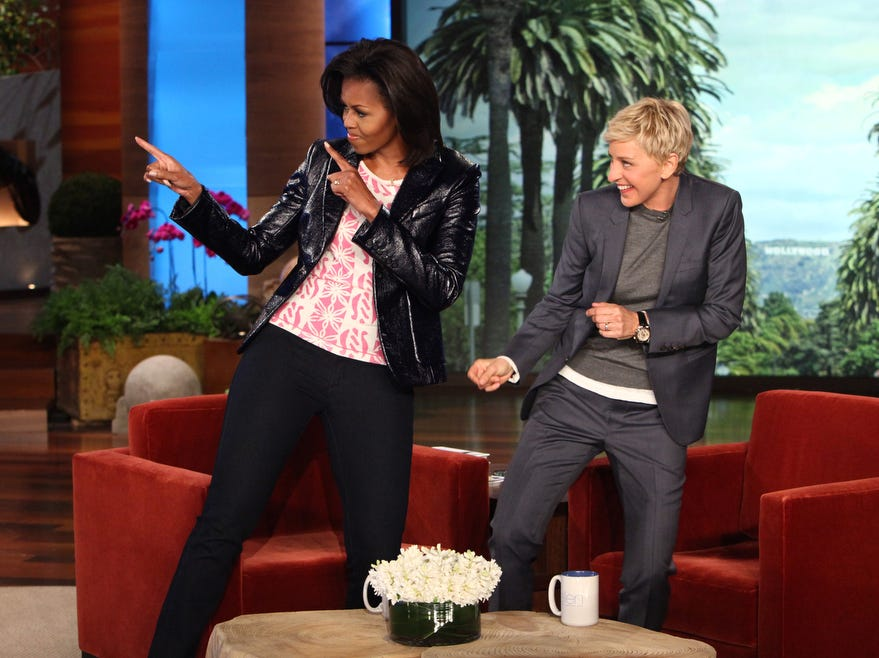 ANY AP HANDOUT PHOTO OVER 30 DAYS OLD MUST BE CHECKED AGAINST AP ARCHIVE FOR USAGE RIGHTS. DO NOT PUBLISH WITHOUT PHOTO EDITOR CONFIRMATION. ORG XMIT: NYET384 In this photo released by Warner Bros., talk show host Ellen DeGeneres is shown with first lady Michelle Obama during a taping of ìThe Ellen DeGeneres Showî on Wednesday, Feb. 1, 2012 in Burbank, Calif.  This episode will air on Thursday, Feb. 2. (AP Photo/Warner Bros., Michael Rozman)