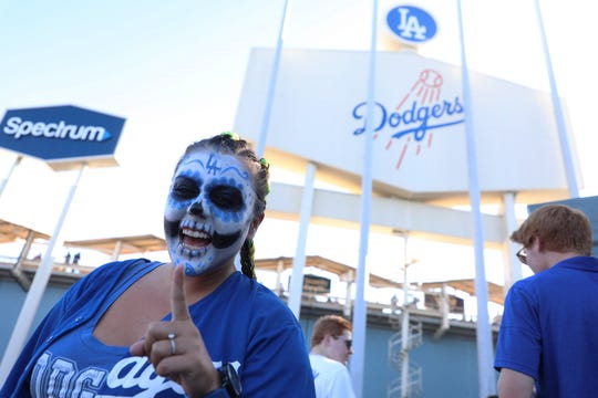 Dodgers fan Michelle Mitchell attends Game 4 of the 2018 World Series.