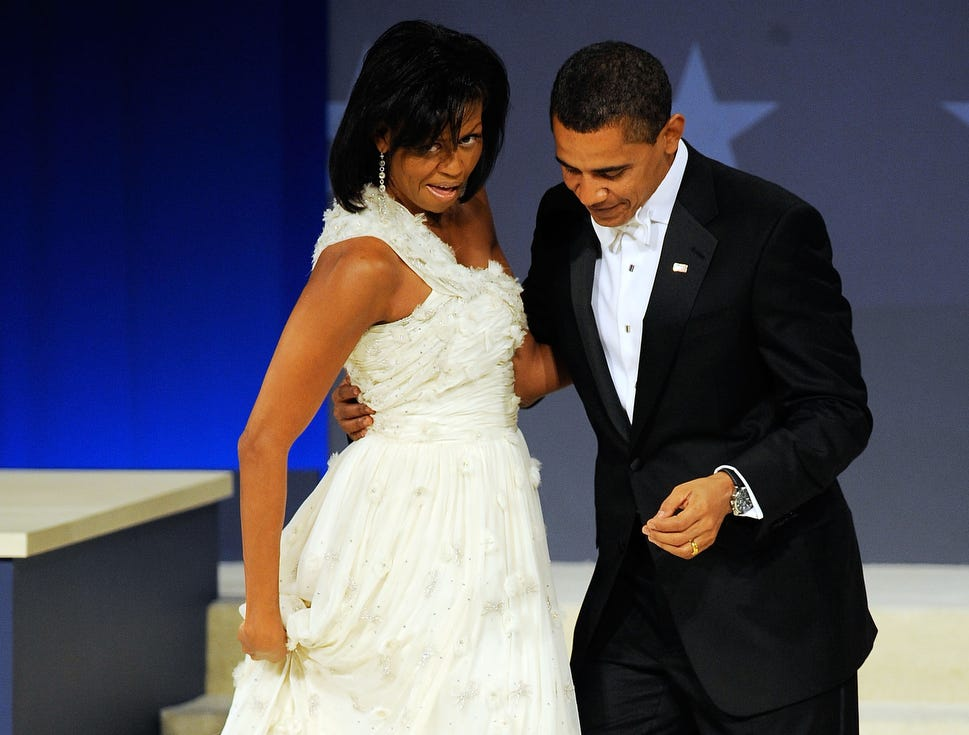 WASHINGTON - JANUARY 20:  U.S. President Barack Obama steps on his wife First Lady Michelle Obama's dress during a dance at the Western Inaugural Ball on January 20, 2009 in Washington, DC. Obama was sworn in as the 44th President of the United States today, becoming the first African-American to be elected President.  (Photo by Jeff Zelevansky/Getty Images) ORG XMIT: 84362984 GTY ID: 62984SC004_WESTERN_INAUG