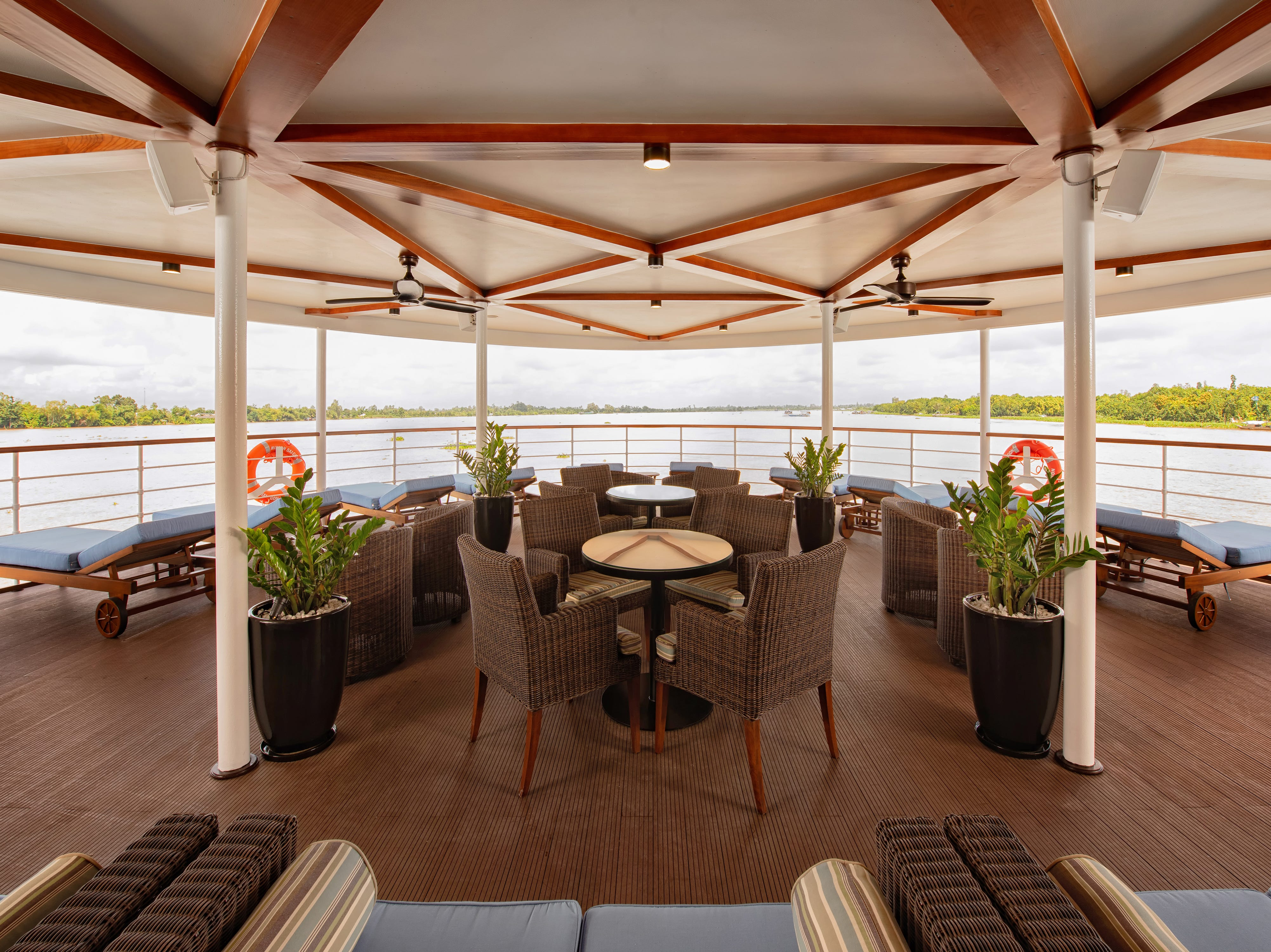 Avalon Saigon features a comfortable, covered outdoor seating area at the front of the vessel.