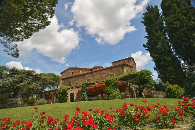 This villa in Chianti has 12 bedrooms and 8.5 baths.