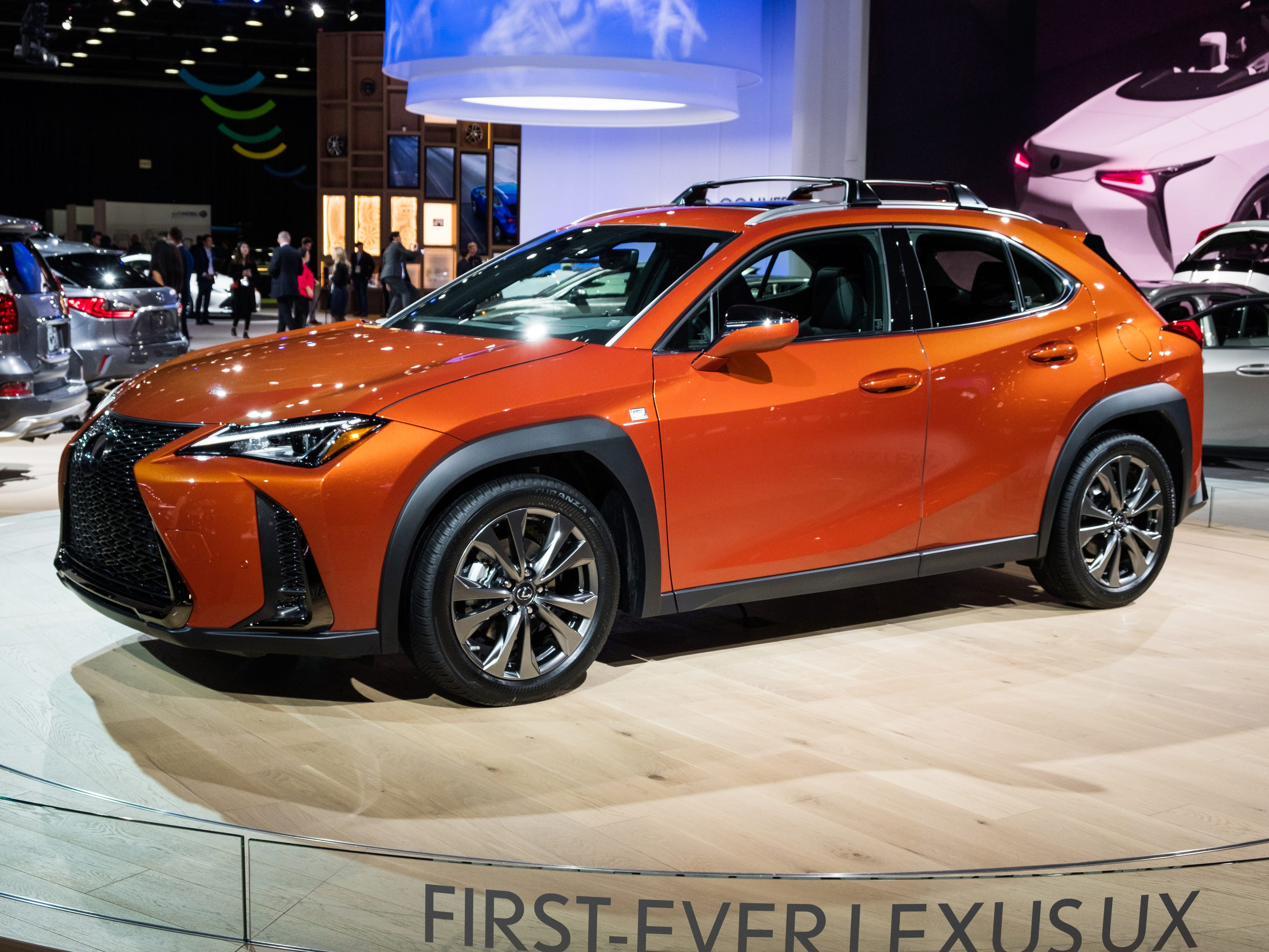 A Lexus UX 200 F Sport sits on the stage during the 2019 North American International Auto Show held at Cobo Center in downtown Detroit on Tuesday, Jan. 15, 2019.  (Via OlyDrop)