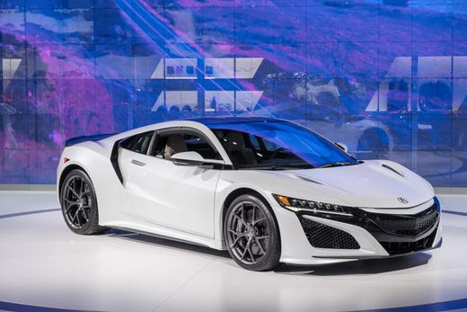 A 2019 Acura Nsx Sits On The Stage During North American International Auto Show