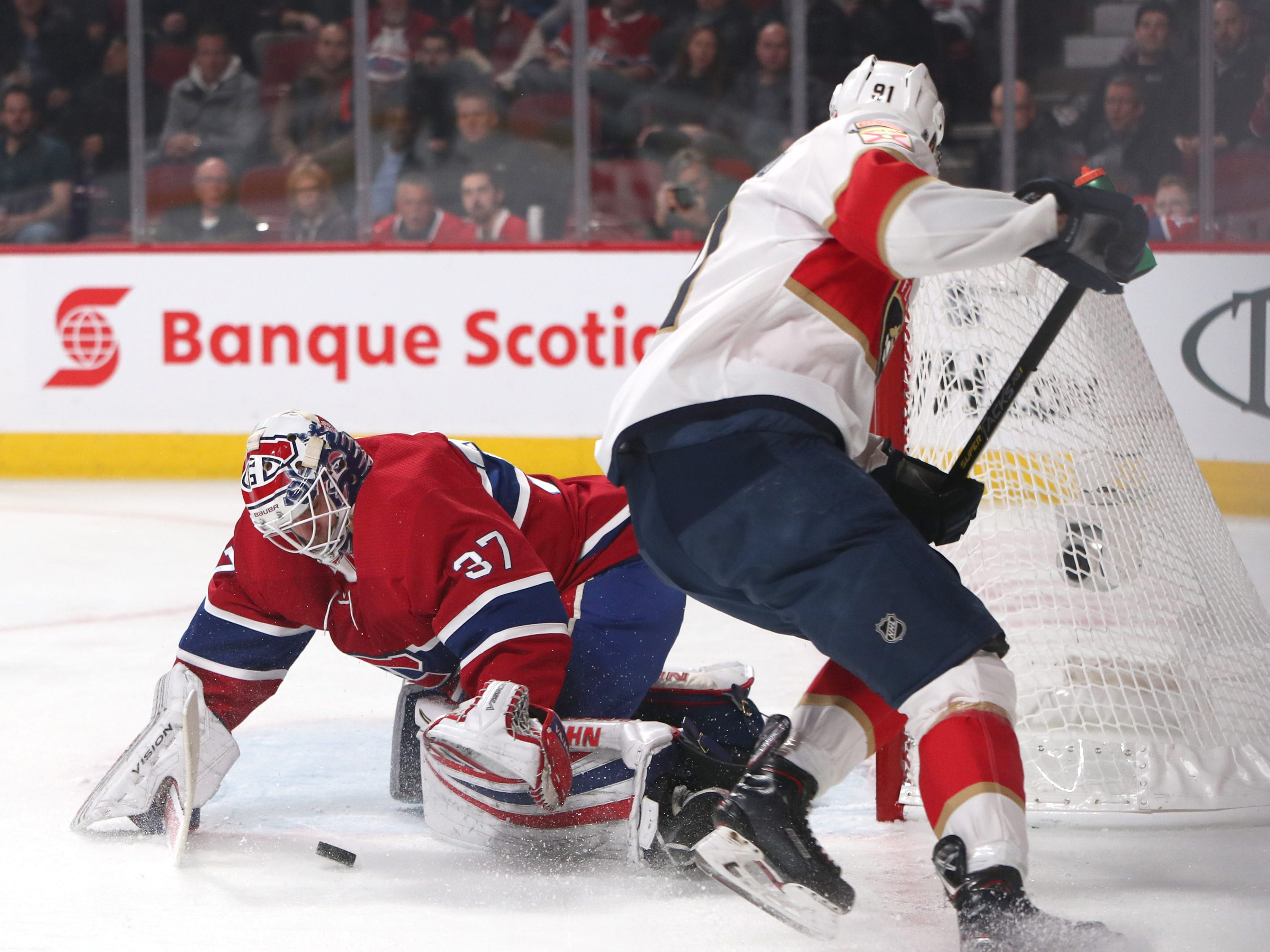Jan. 15. Montreal Canadiens goaltender Antti Niemi makes a save against Florida Panthers right wing Juho Lammikko. He made 52 saves in the 5-1 Montreal win.