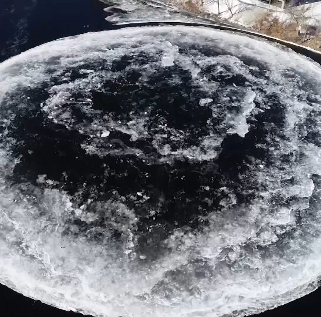 Giant rotating ice disk in Maine draws attention, visitors