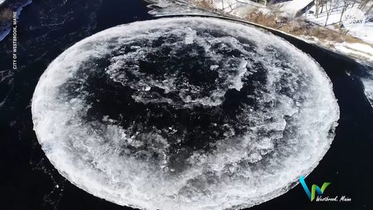 A circular ice formation has been mesmerizing onlookers along Maine's Presumpscot River.