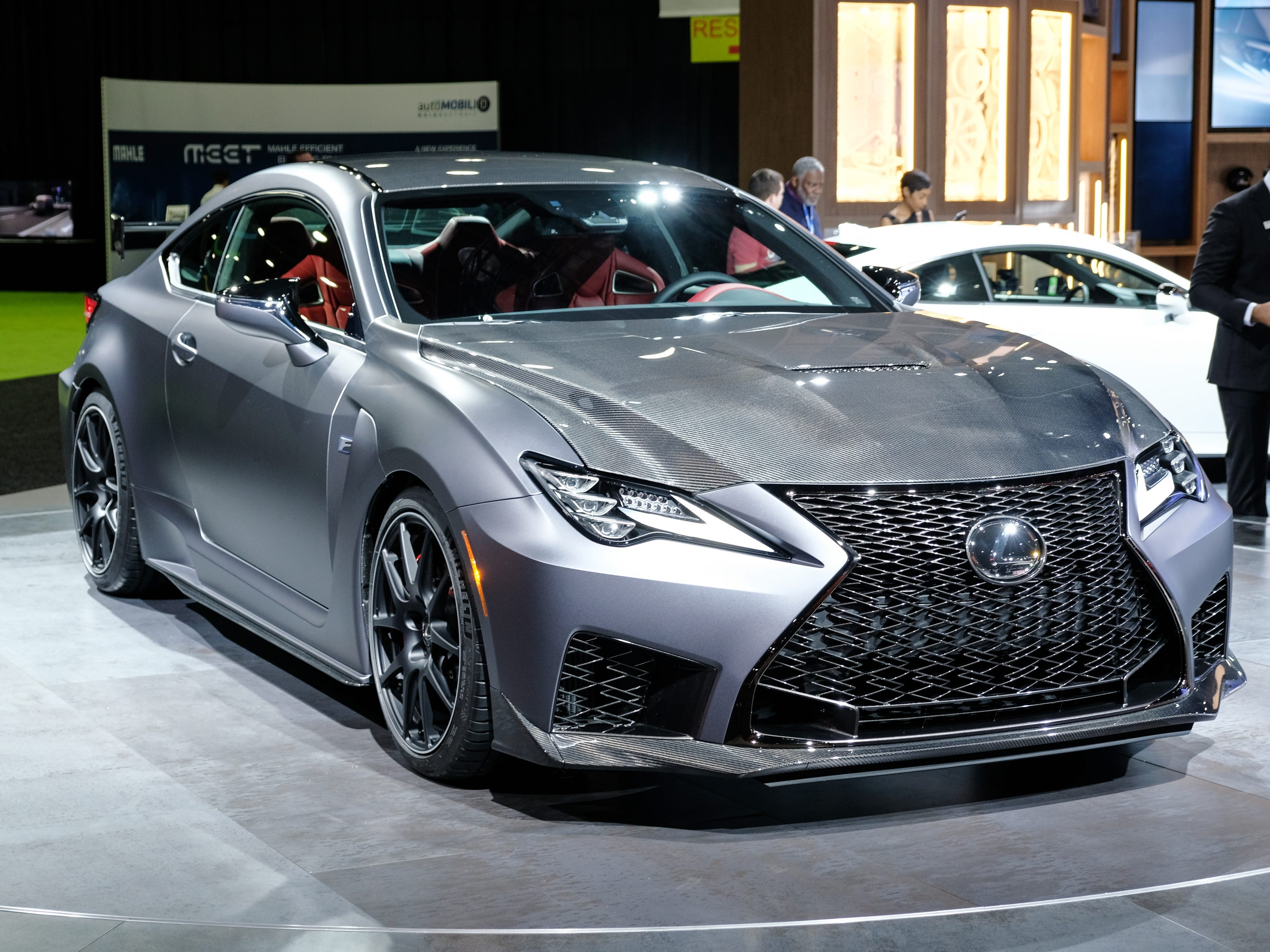 A 2020 Lexus RC F sits on the stage during the 2019 North American International Auto Show held at Cobo Center in downtown Detroit on Tuesday, Jan. 15, 2019.  (Via OlyDrop)