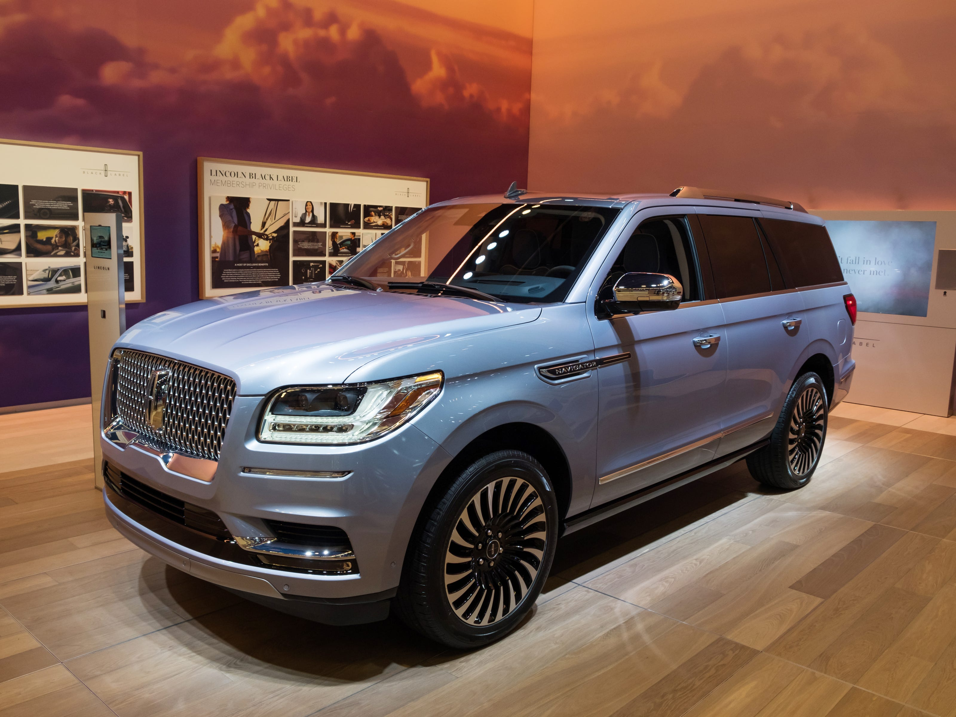A 2019 Lincoln Navigator sits on display during the 2019 North American International Auto Show held at Cobo Center in downtown Detroit on Tuesday, Jan. 15, 2019.  (Via OlyDrop)