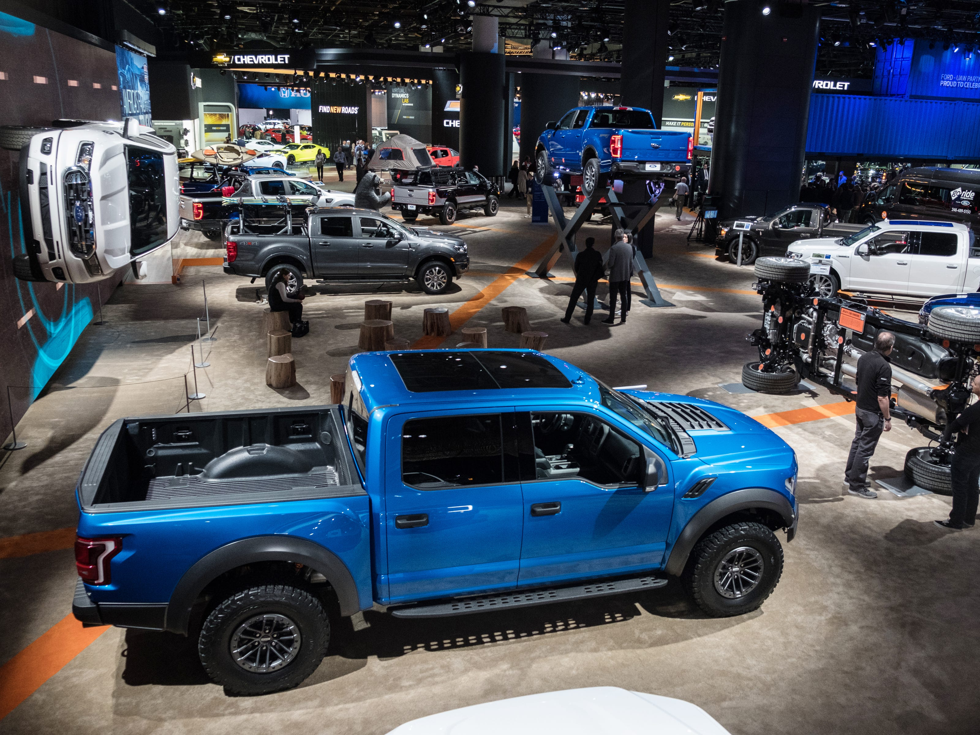 A view of the Ford Motor Company display is seen during the 2019 North American International Auto Show held at Cobo Center in downtown Detroit on Tuesday, Jan. 15, 2019.  (Via OlyDrop)