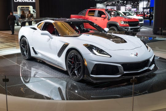 The 2019 Chevrolet Corvette ZR1, seen here at the 2019 Detroit auto show, is the fastest-ever Corvette with a top speed of 210 miles per hour.