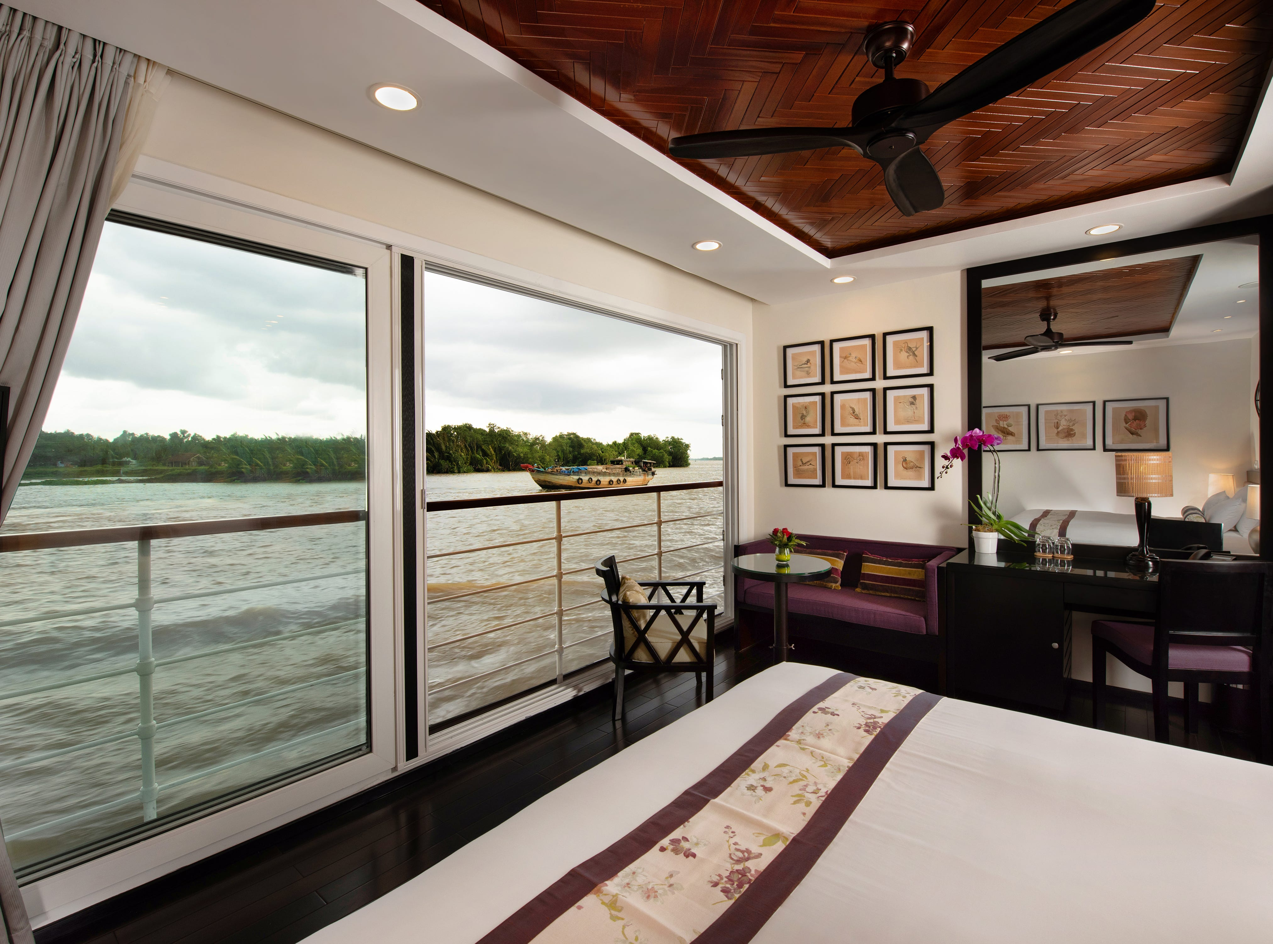 Avalon Saigon is home to some of the most stylish and contemporary cruise cabins on the Mekong River. All of the 18 rooms on the ship are suites measuring a spacious 245 square feet.