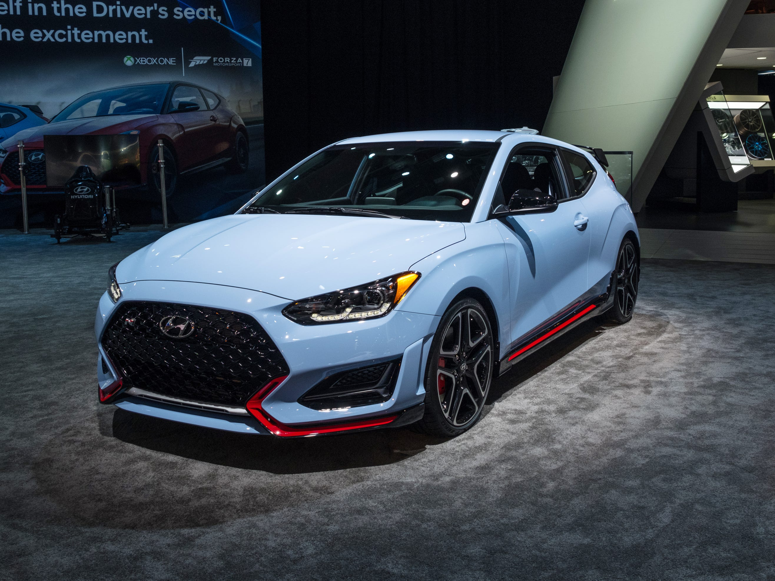 2019 Veloster N sits on display during the 2019 North American International Auto Show held at Cobo Center in downtown Detroit on Tuesday, Jan. 15, 2019.  (Via OlyDrop)