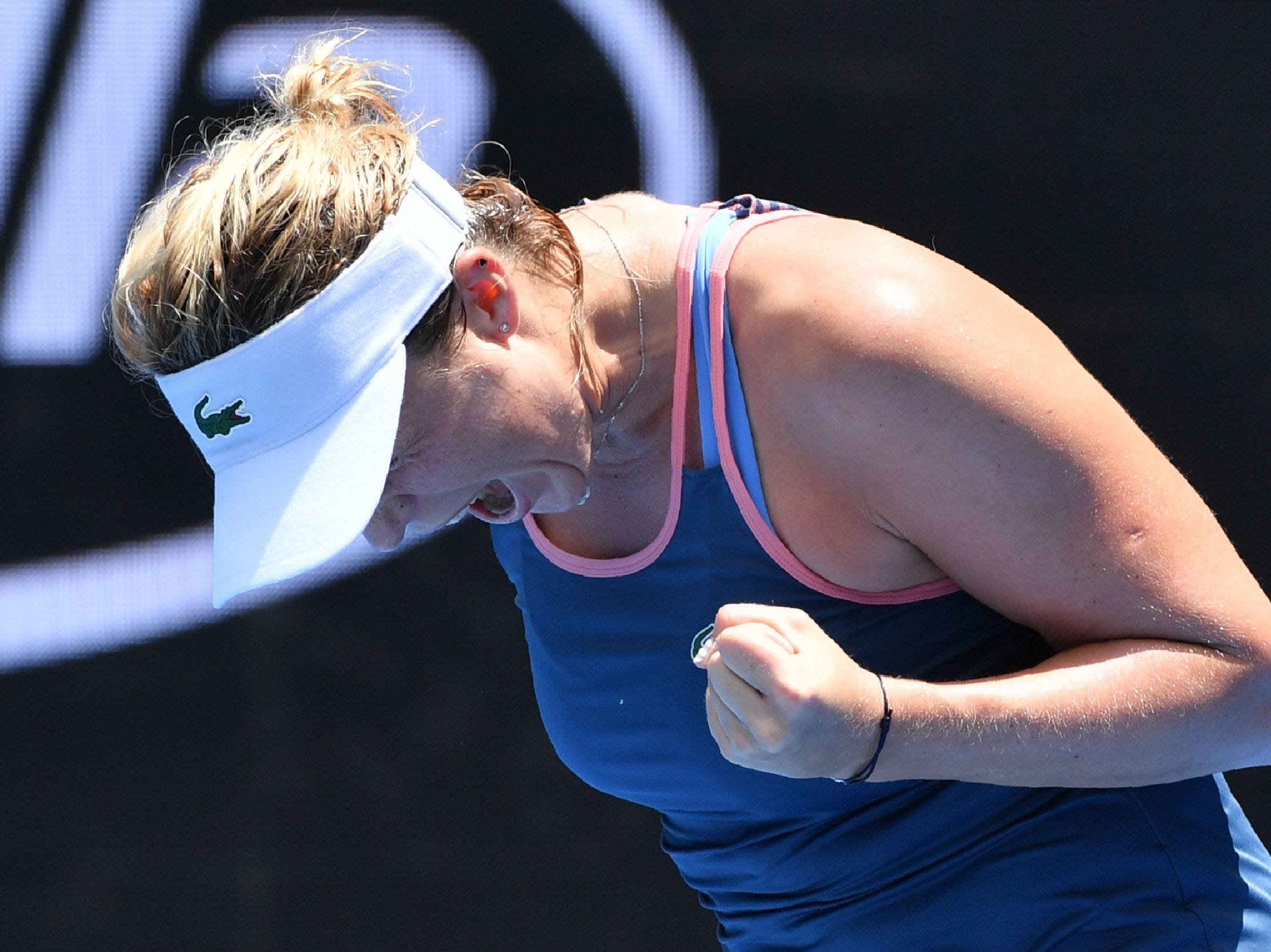 Russia's Anastasia Pavlyuchenkova celebrates after upsetting No. 9 Kiki Bertens 3-6, 6-3, 6-3 in the second round.