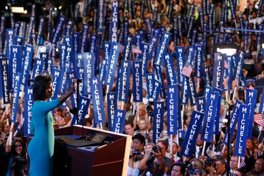 Michelle Obama speaks to the Democratic National Convention in Denver on Aug. 25, 2008.