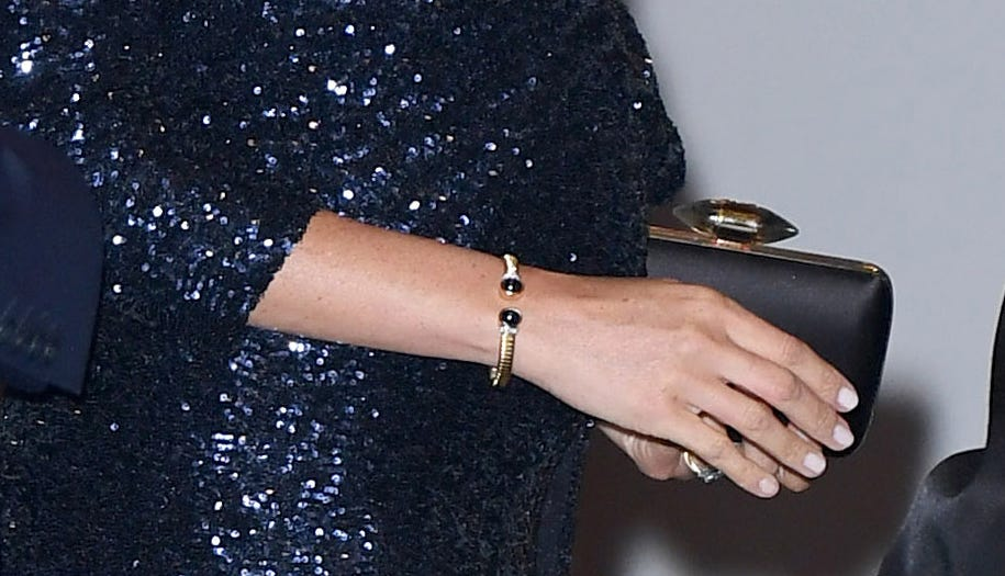 "Duchess Meghan of Sussex wore one of Princess Diana's bracelets to the Cirque du Soleil premiere of ""Totem"" at Royal Albert Hall on Jan. 16, 2019 in London"