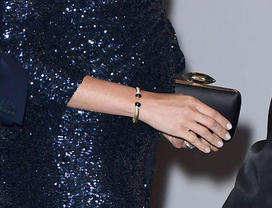 """Duchess Meghan of Sussex wore one of Princess Diana's bracelets to the Cirque du Soleil premiere of """"Totem"""" at Royal Albert Hall on Jan. 16, 2019 in London"""