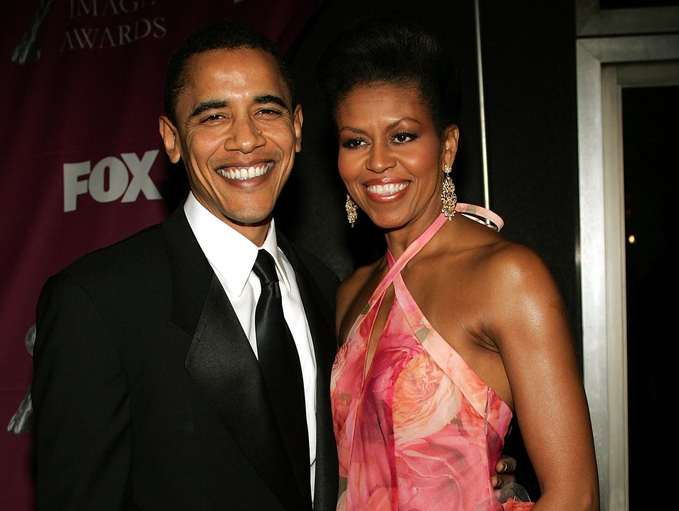 LOS ANGELES, CA - MARCH 19:  Senator Barack Obama and his wife Michelle arrive at the 36th NAACP Image Awards at the Dorothy Chandler Pavilion on March 19, 2005 in Los Angeles, California.  (Photo by Frederick M. Brown/Getty Images)