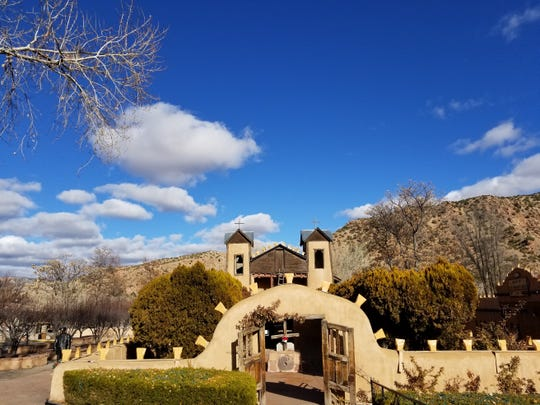 El Santuario de Chimayó in Chimayó, about a 30-minute drive from Santa Fe,  is visited by over 300,000 visitors a year.