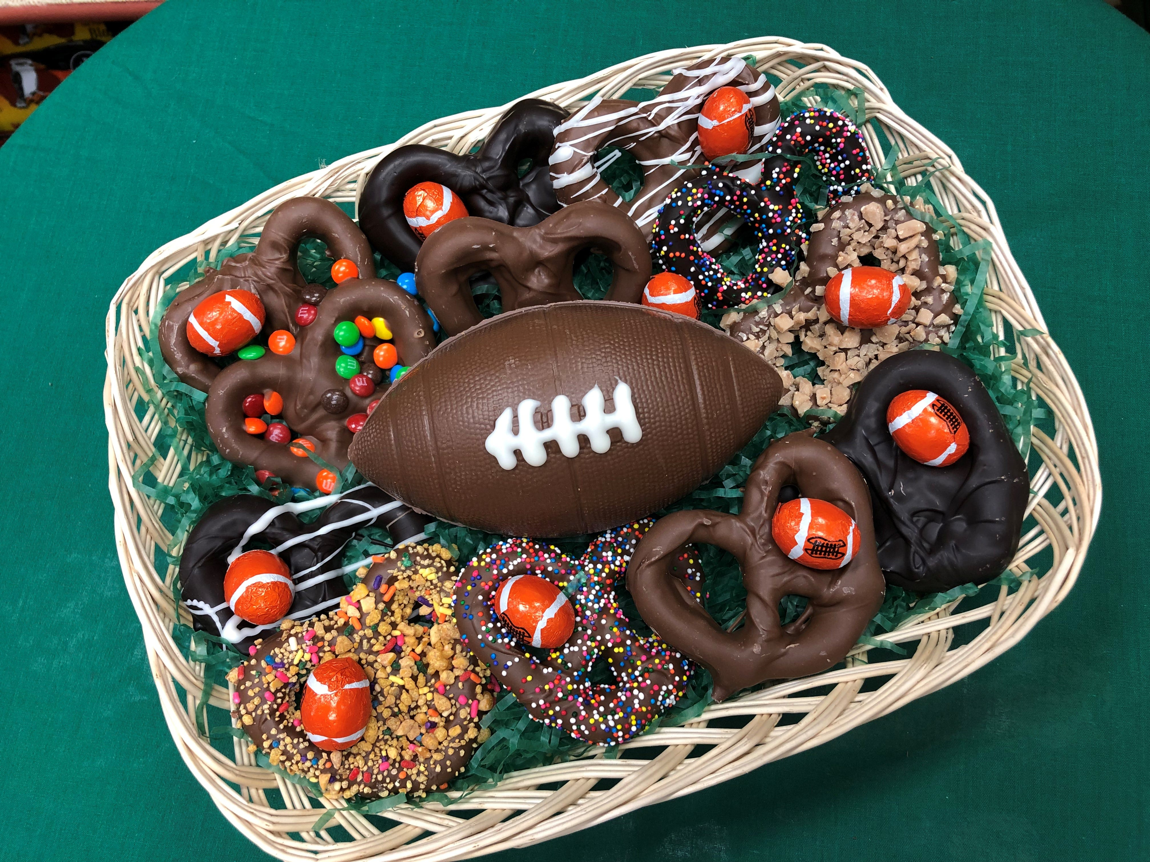 A football platter from Suzi's Sweet Shoppe in Middletown.