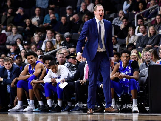 Seton Hall Pirates assistant coach Grant Billmeier reacts to a call during the second half of a game against the Providence Friars at the Dunkin Donuts Center.