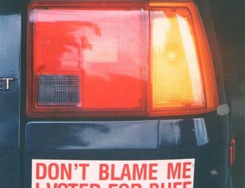 A Buff Hackney bumper sticker on Sept. 15, 1987.
