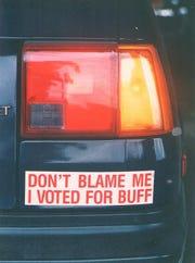 Buff Hackney bumper sticker.