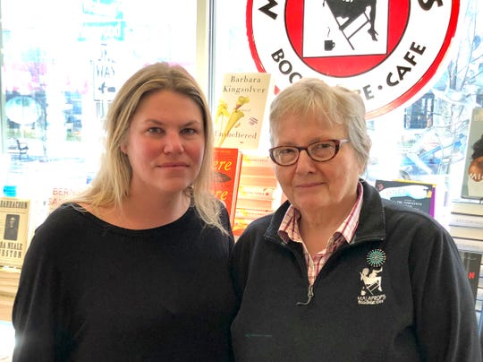 Gretchen Horn, a longtime employee of Renaissance Bookfarm Inc., which owns downtown booksellers Malaprop's Bookstore/Cafe and Downtown Books & News, left, with the company's founder, Emoke B'Racz. The company said Thursday Horn has taken over as its majority owner. B'Racz will remain on as a minority owner.