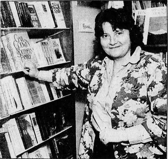 Malaprop's founder Emoke B'Racz at the store in 1988.