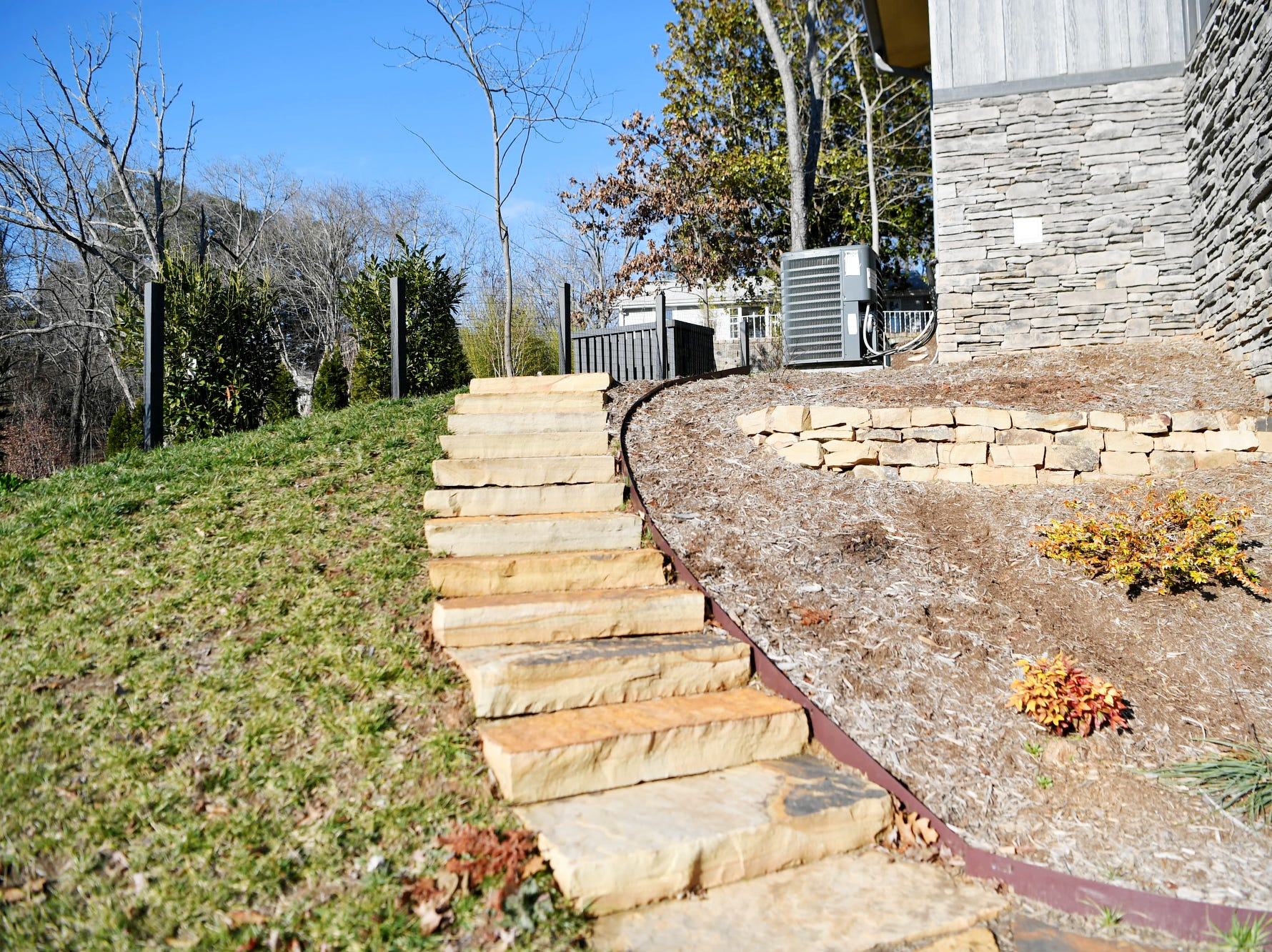 Stairs leading up to Matthew Rooks' home, which is for sale in Asheville.