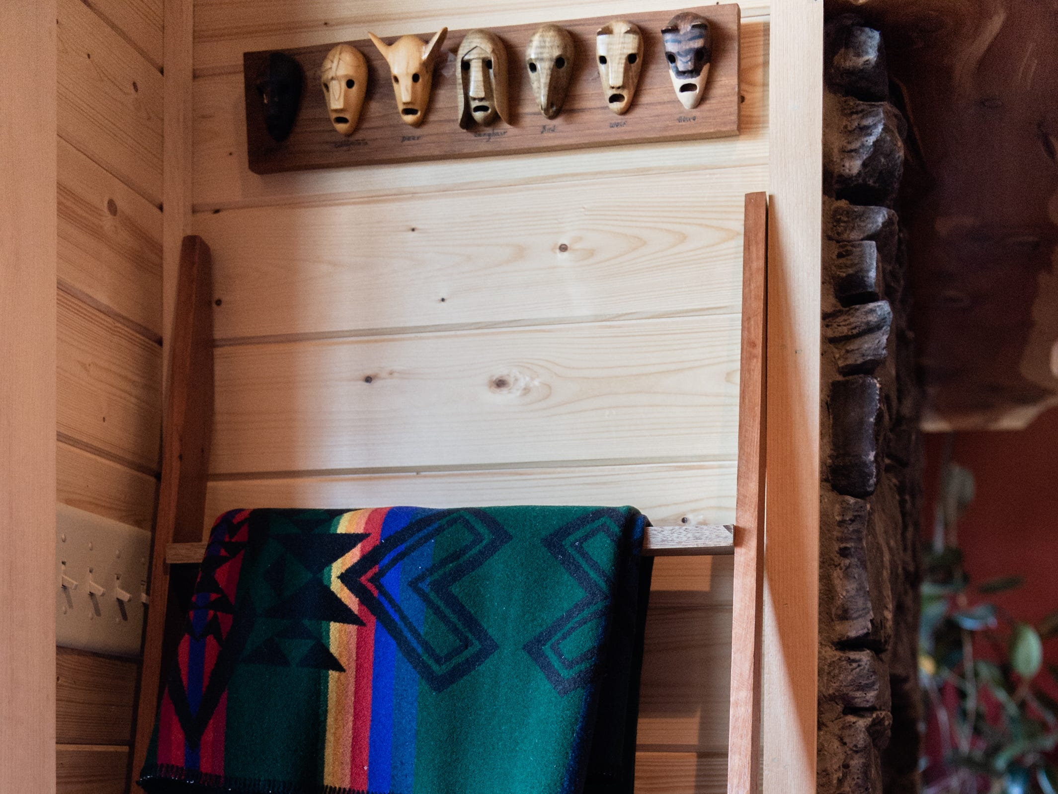 Pendleton Indian blankets in the log cabin home of Vangie Stephens and Tommy Stephens in Cherokee which was designed by Vangie.
