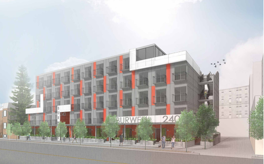 A rendering of a proposed apartment building on Burwell Street. Developers asked the city to change the design of the project from a module-based structure to a more traditional wood-frame build.