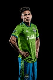 Sounders star Raul Ruidiaz in the team's new jersey
