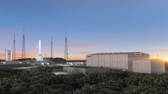 Artist rendering of Relativity Space's Terran 1 rocket on the pad at Cape Canaveral Air Force Station's Launch Complex 16.