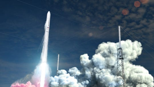 Artist rendering of Relativity's Terran 1 rocket blasting off from Cape Canaveral Air Force Station's Launch Complex 16.