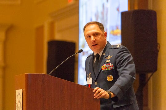 Air Force Col. Thomas Ste. Marie speaks during the National Space Club Florida Committee luncheon in Cape Canaveral on Tuesday, Jan. 15, 2019.