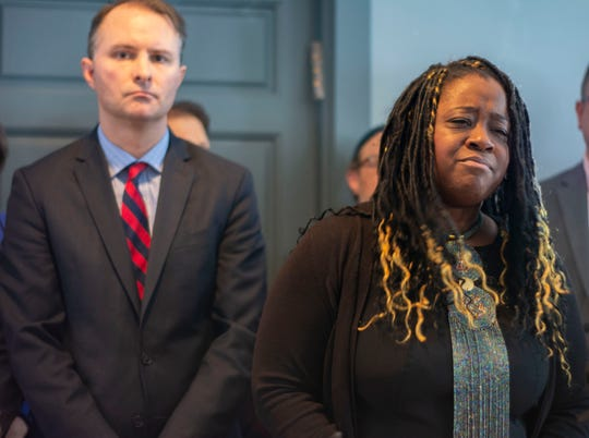 Former state Rep. Kiah Morris speaks about the racial harassment faced by her family at a press conference in Bennington on Jan. 14, 2019