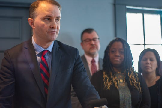 Attorney General T.J. Donovan announces that no prosecution will be brought in the case of former state Rep. Kiah Morris at a press conference in Bennington on Jan. 14, 2019. Morris and NAACP of Rutland president Tabitha Pohl-Moore look on.