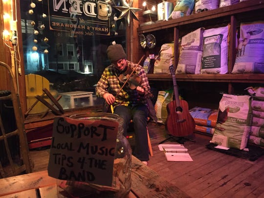 Musician Dan Wyman of St. Albans performs Jan. 12, 2019 at The Den at Harry's Hardware in Cabot.