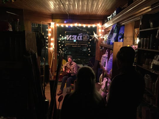 Musician Dan Wyman of St. Albans performs for a crowd Jan. 12, 2019 at The Den at Harry's Hardware in Cabot.