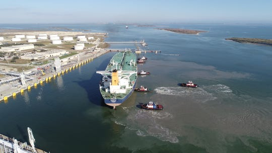 The Port of Corpus Christi intends to widen this entryway, near Port Aransas, that leads into the port. This is an aerial view of the area in 2018.