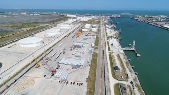 An aerial view of the Port of Corpus Christi in 2018.