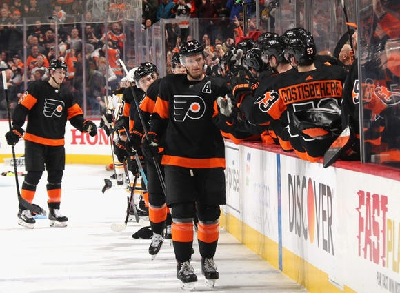 Sean Couturier netted a hat trick in the Flyers 4-3 win over Boston, the second game in which the team overcame a two-goal deficit to win.