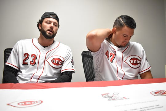 Cincinnati Reds players Cody Reed (23), Sal Romano (47), Scooter Gennett (3) and Brantley Bell visit Chillicothe during their Reds Caravan tour on Jan. 17, 2019.