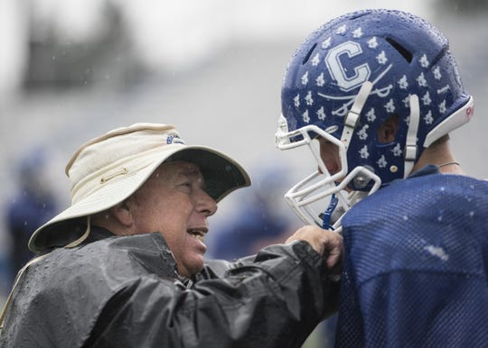 """Coach Ron Hinton talks to Simon Roderick about leadership and his role as a senior member of the football team and encourages him to go out there and do what he knows he is capable of.  The coach wants all his athletes to be the best that they know they can be. """"I am a firm believer that we are as good as the seniors are. It is not just talent, but leadership that will lead the talent on and off the field,"""" said Hinton. """"Groups like this (are) what makes us very successful."""""""
